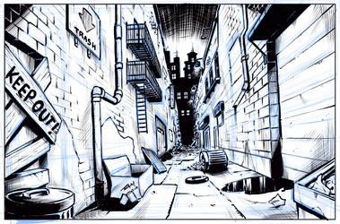 Comic Art Background - Alleyway by robertmarzullo