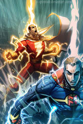 Captain Marvel and Miracleman by el-grimlock
