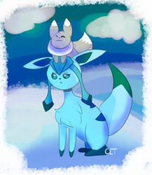 Huevember Day 21- Glaceon and Eevee by ChelseaLToons