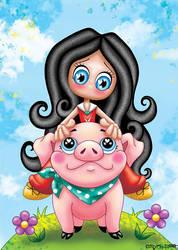Aime-Moi et Piggy-Chou le petit cochon by Myria-Moon