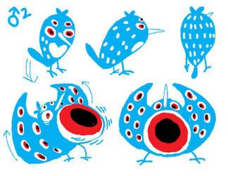 Blue Male Bird Character Design by hajimikimo