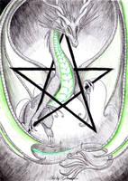 Moondragon pentagram by Gewalgon