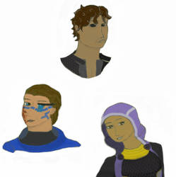 ME: Human Garrus, Tali and Thane by DeejahThoris