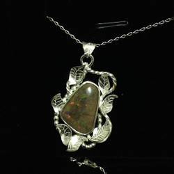 Matrix opal pendant with leaves by SunreiCreations