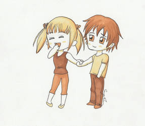 Mark Crilley Chibi holding hands by Doris1991