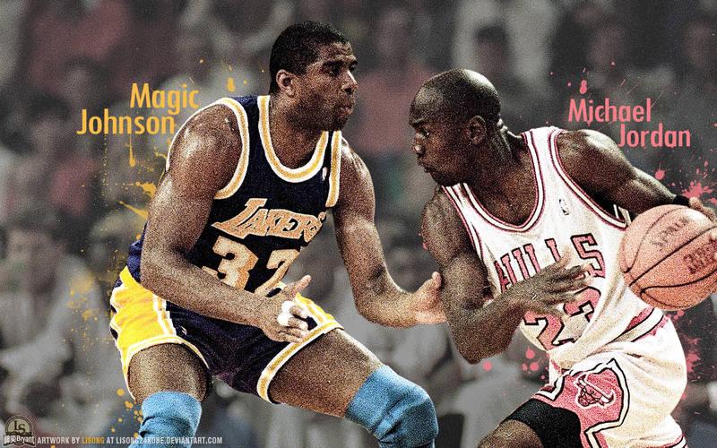 Magic Johnson Vs Michael Jordan Wallpaper By Lisong24kobe On Deviantart
