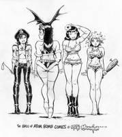 Girls of Atom Bomb Comics by rattlesnapper