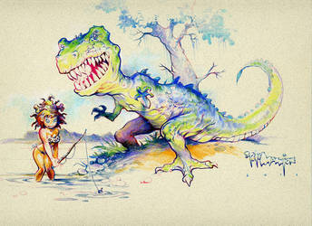 Dinosaur and Jungle Chick by rattlesnapper