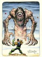 Secret of the Swamp Monster VS. Judge Dredd by rattlesnapper