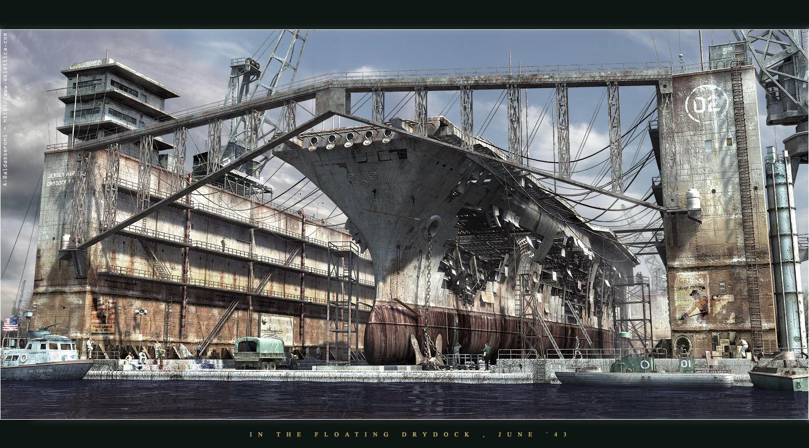 Floating Drydock 1943 by Baldasseroni
