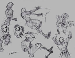 Skullz pencil sketches 2 action poses by benedickbana