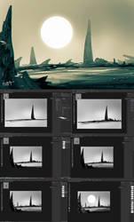 Speedpaint Environment Concept Art with WIP by benedickbana