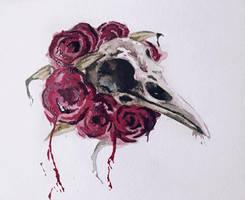Watercolor Raven skull by mjc2931
