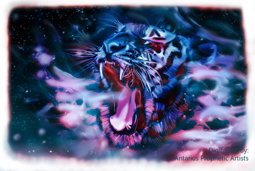 Blizzard Tiger -Painting  by AntariusPropheticArt