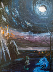 Moon over Ponyville by Tridgeon