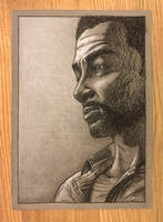 Lee - TWD Game - Charcoal Drawing by Wolfgan