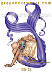 Bendi Sexy Fantasy Mermaid Pinup by Greg Andrews by HOT-FINS-MERMAIDS
