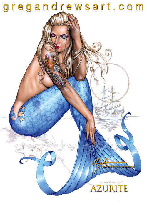 Azurite Sexy Fantasy Mermaid Pinup Greg Andrews by HOT-FINS-MERMAIDS