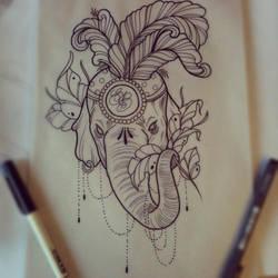 Elephant tattoo design by ElfEupraxia
