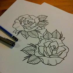 Rose tattoo design by ElfEupraxia