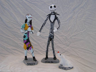 Jack Sally and Zero in clay by maxthesarcastic