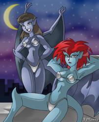 Angela and Demona Moon Bathing by XJKenny