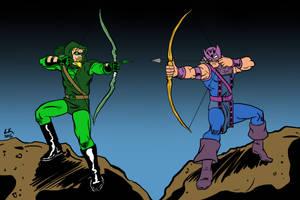 Green Arrow vs Hawkeye by LarryKingUndead