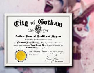 Harley Quinn Arkham Asylum Certificate by LeftoverPrints
