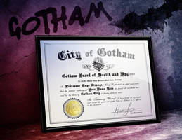 Arkham Asylum Certificate of Sanity with YOUR name by LeftoverPrints