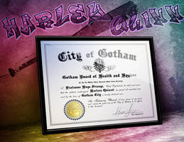 Harley Quinn - Arkham Asylum Certificate of Sanity by LeftoverPrints