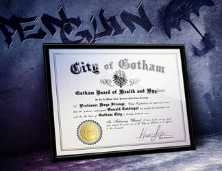 Oswald Cobblepot Penguin - Arkham Asylum Certifica by LeftoverPrints