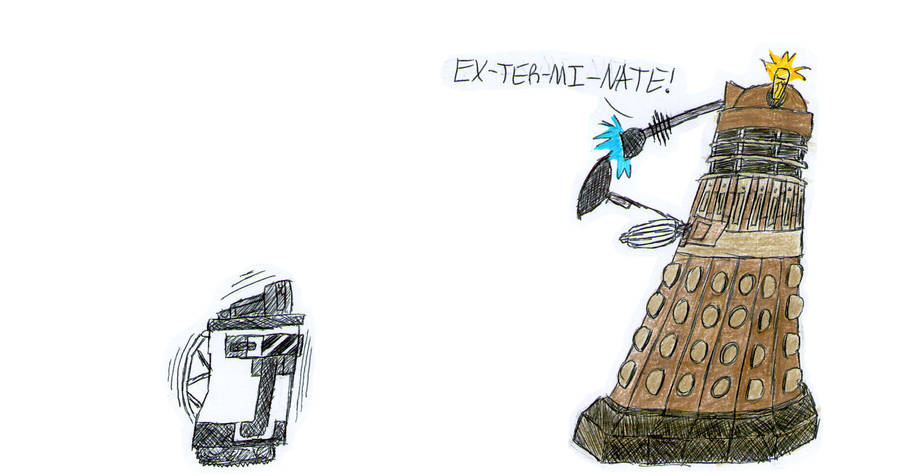 WALL-E and a Dalek by PonellaToon