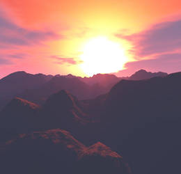 Mountain Sunset 1 by MysticrainbowStock