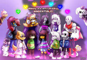 Happy 3rd Anniverary, Undertale! by PinksieHeartwishes
