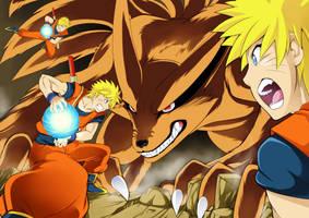 Naruto VS Kyuubi by Letucse