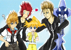Roxas,Axel and Demyx with Rosa by Letucse