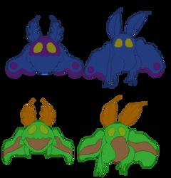 SHINY Original/Alolan Variants of Mothman Pokemon by Lover-of-Music