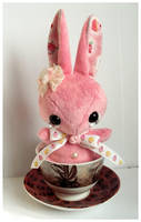 Cupcake - Handmade Teacup Bunny Plushie - for sale by tiny-tea-party