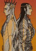 Thranduil and Elrond by JaneDoemmmmm