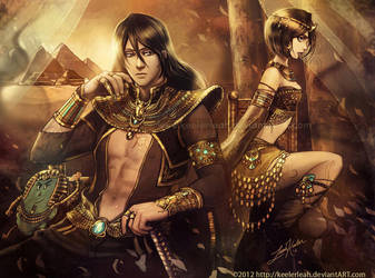 Bleach Egyptian Halloween: Byakuya and Rukia by keelerleah