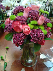 Pink Roses, Green Mums, Purple Carnartions by NikkiAgent