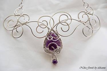 Helirhin - elfin queen amethysts' necklace by Elehanne