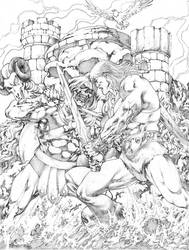 Commission He-man vs Esqueleto JL by JoseLuisarts