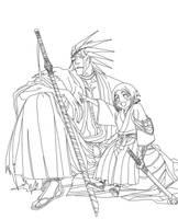 Lineart - Zaraki and Yachiru by ZulDzin