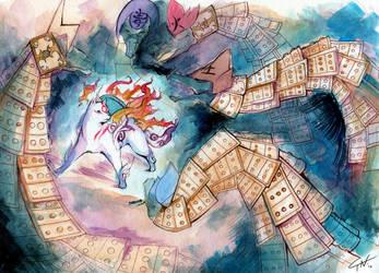 Amaterasu v. Orochi by Kloku