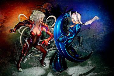 Witchblade: Amaha vs. Shiori by BlackMageAlodia