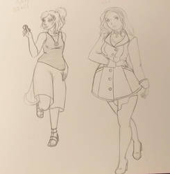 Rae And Addy outifts doodles Shaded by tigerpixie16