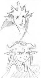Gargoyles Portraits : Opaline and Morphine by coda-leia