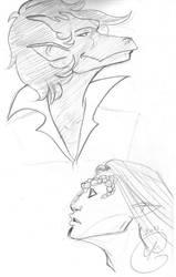 Gargoyles Portraits : Delacroix and Grimm by coda-leia