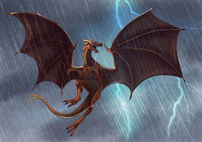 Commission : Brown Pernese Dragon for Iceheart by coda-leia